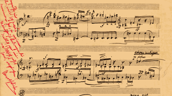 Partitura manuscrita de la Suite, op. 25